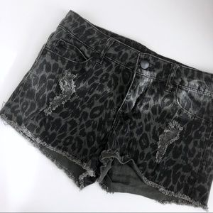 Forever 21 Animal Print Distressed Mid Rise Shorts